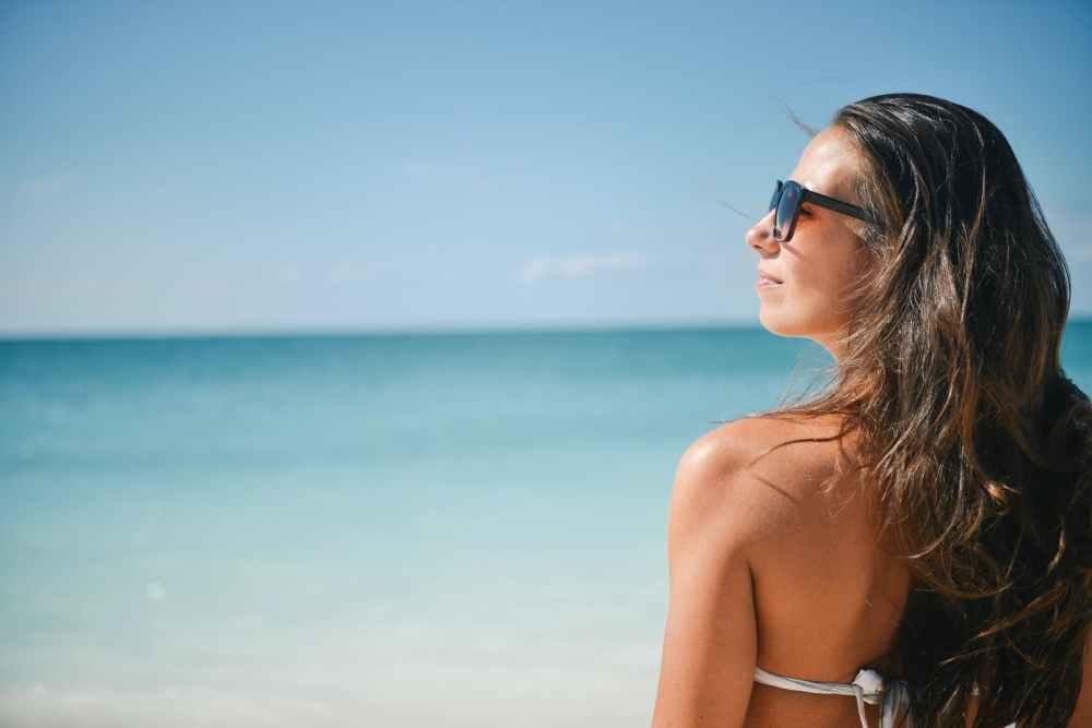 sea sunny person beach